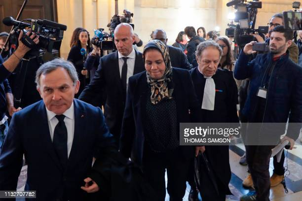 Latifa Ibn Ziaten , mother of French paratrooper Imad Ibn Ziaten who was killed by jihadist Mohammed Merah in 2012, flanked by her lawyer Mehana...