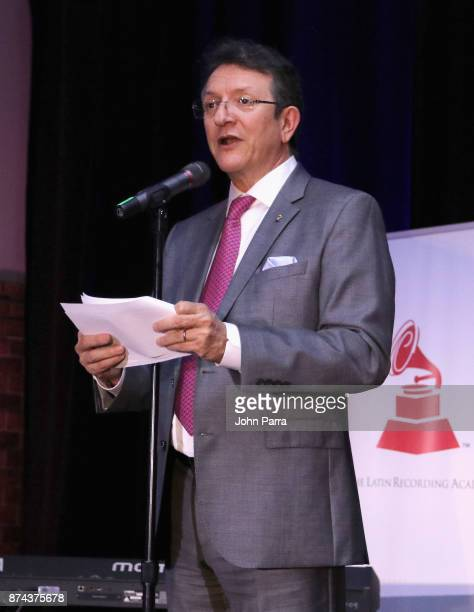 Latin Academy of Recording Arts Sciences President and CEO Gabriel Abaroa speaks at the CPI Event during the 18th annual Latin Grammy Awards at the...
