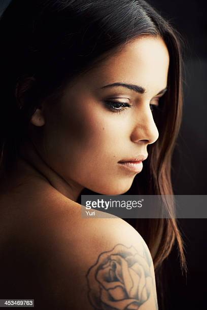 latin allure - tattoo shoulder stock photos and pictures