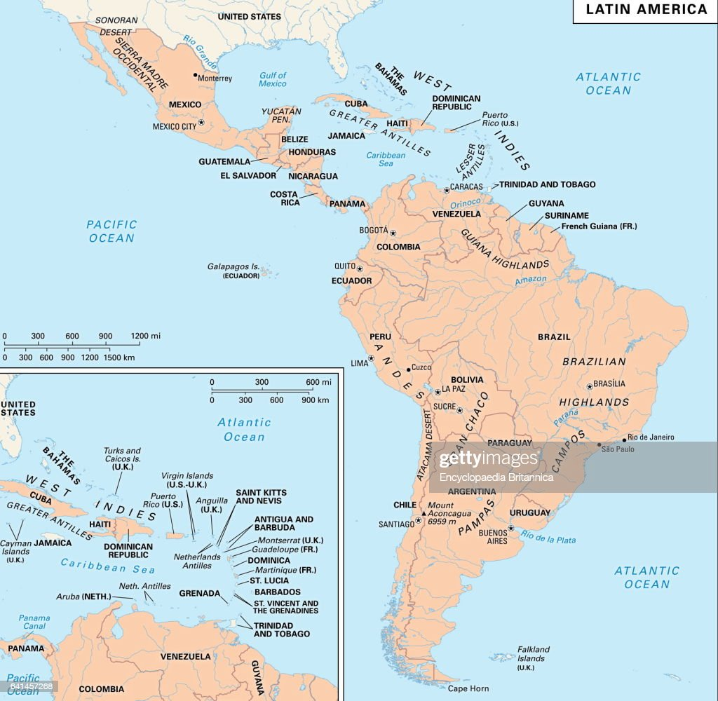 Latin America politicalphysical map Pictures Getty Images