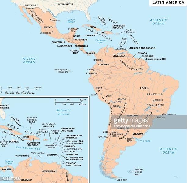 Latin America political/physical map