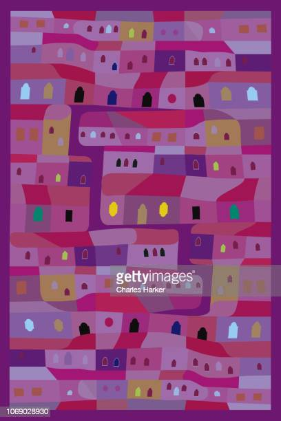 Latin America vivid purple row house pattern decorative folk illustration style.