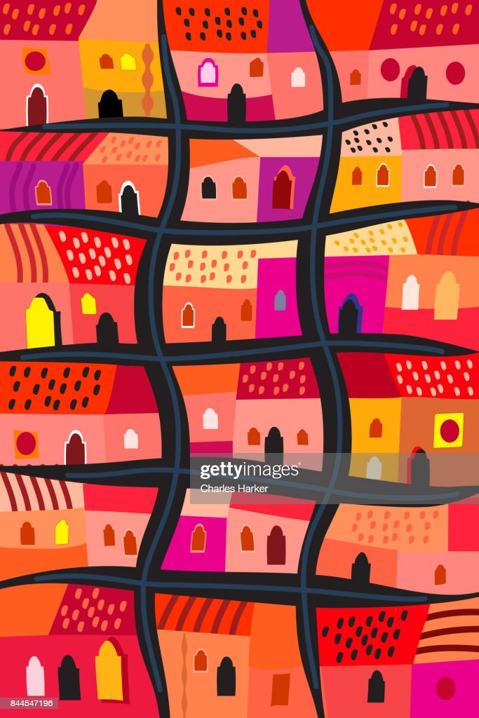 Latin American Bright Red and Orange Row Houses Decorative Illustration in Folk Style Pattern : Stock Photo