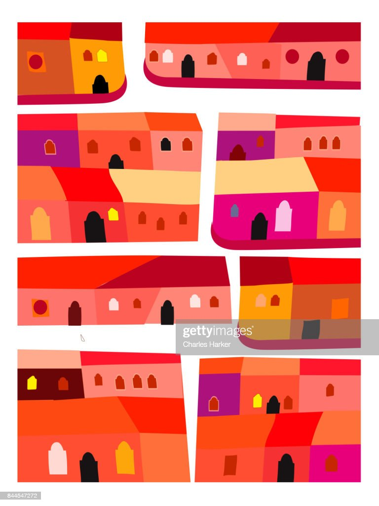 Latin American Bright Red and Orange Row Houses Geometric Decorative Illustration Pattern : Stock Photo