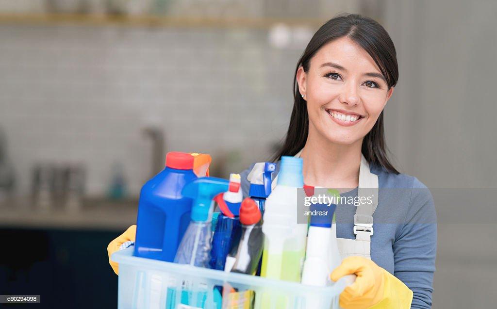 Latin American cleaning woman : Stock Photo