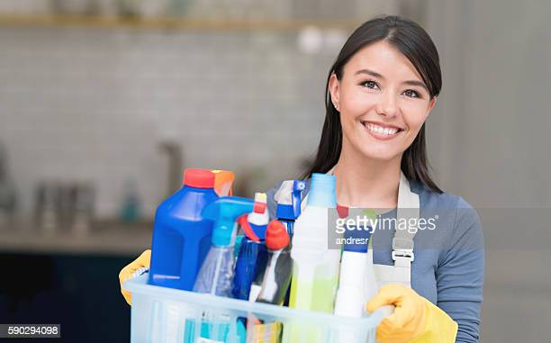 Latin American cleaning woman
