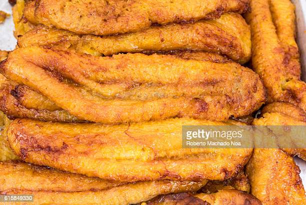 Latin American cuisine deep fried ripe plantains at the Pan American Food Festival Toronto has many Summer multicultural street festival rich in a...