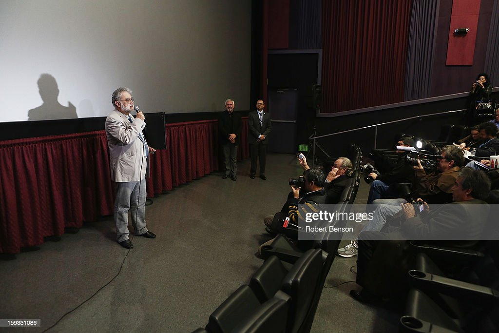 Latin American filmmaker Ivan Trujillo speaks to a film sceening audience after he was honored at the 24th Annual Palm Springs International Film Festival on January 11, 2013 in Palm Springs, California.