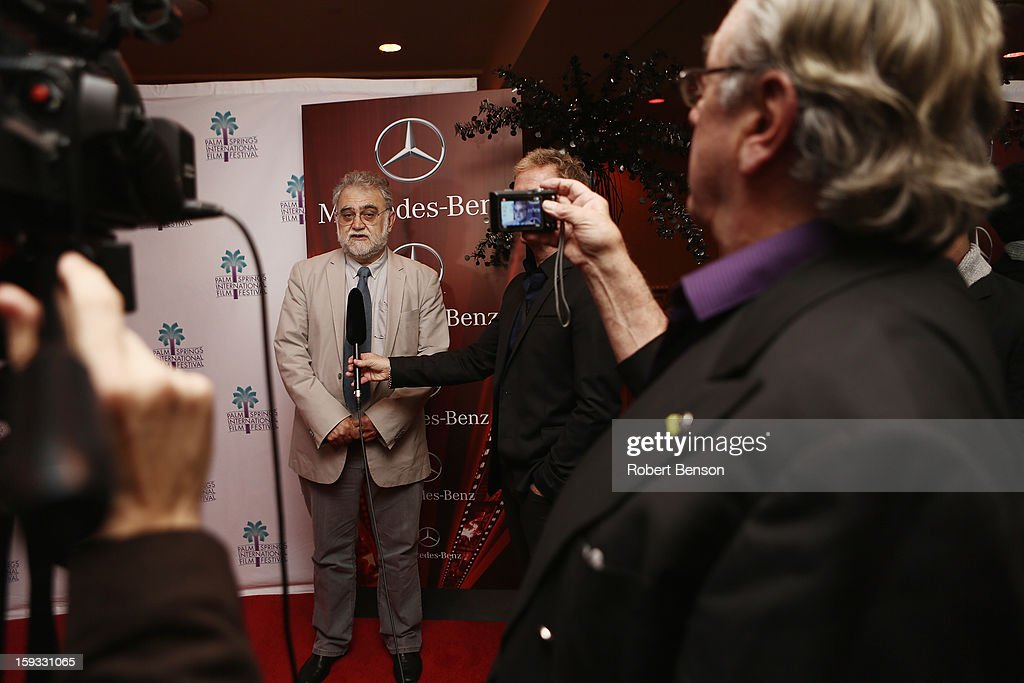 Latin American filmmaker Ivan Trujillo speaks with media after he was honored at the 24th Annual Palm Springs International Film Festival on January 11, 2013 in Palm Springs, California.