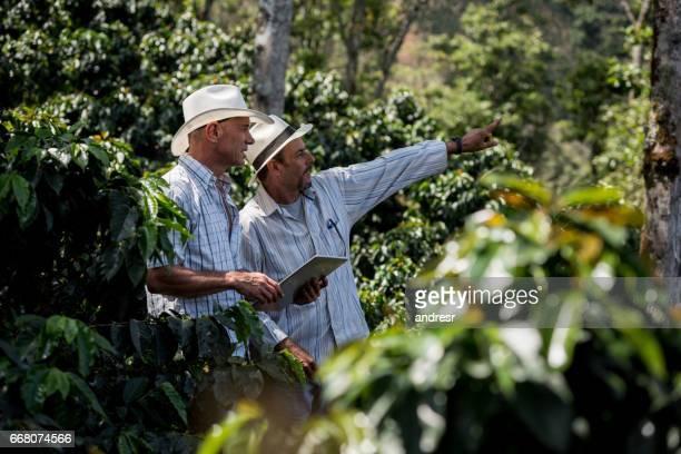 Latijns-Amerikaanse mannen een koffie boerderij beheren