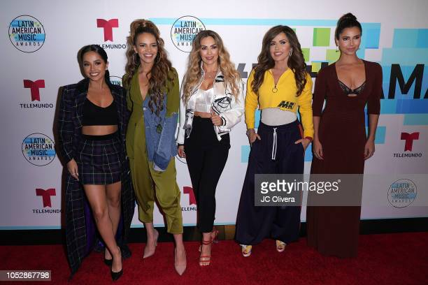 2018 Latin American Music Awards hosts Becky G Leslie Grace Aracely Arambula Gloria Trevi and Roselyn Sanchez attend Telemundo's QA session about the...