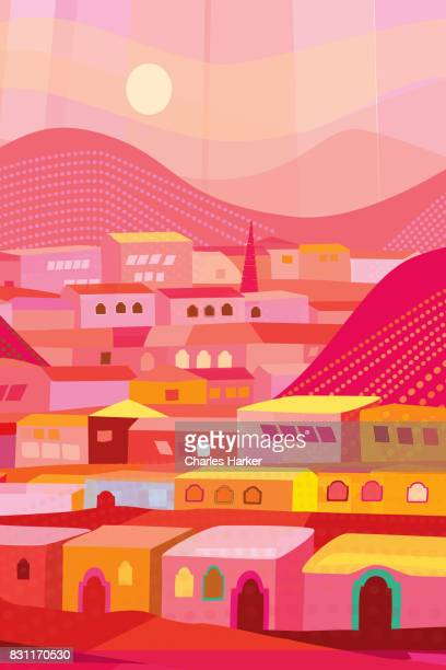 Latin American Red and Orange Houses Illustration in Mountainous Landscape Folk Style