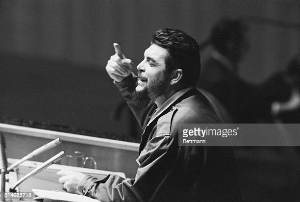 Latin American revolutionary Ernesto Che Guevara debates denuclearization of the Western Hemisphere in the General Assembly of the United Nations
