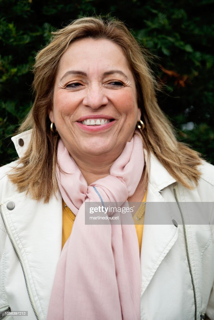 Latin American senior woman portrait outdoors. : Stock Photo