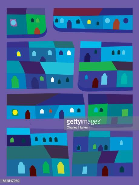 Latin American vivid blue and green row houses decorative illustration in folk style pattern