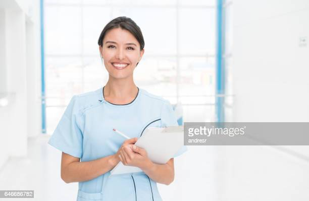 Latin American woman working at a hospital