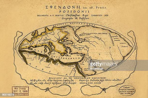 Latin and Greek Black White Map of the World known to the ancients and centered on the Meditteranean