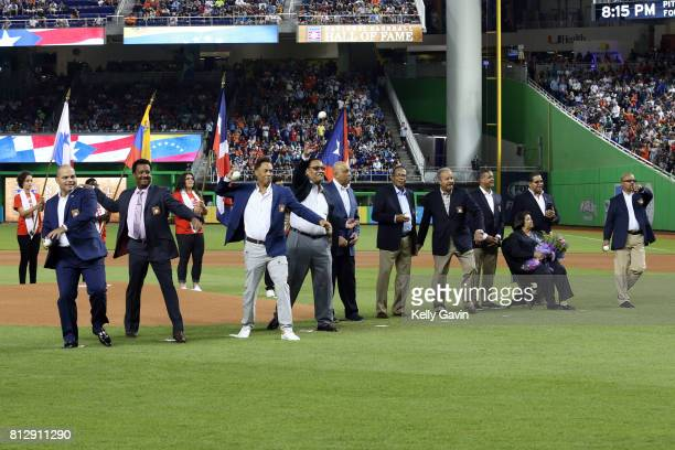 Latin born Hall of Famers throw out the ceremonial first pitches prior to the 88th MLB AllStar Game at Marlins Park on Tuesday July 11 2017 in Miami...