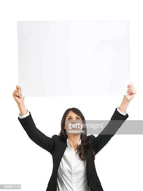 Latin business woman holding a big sign