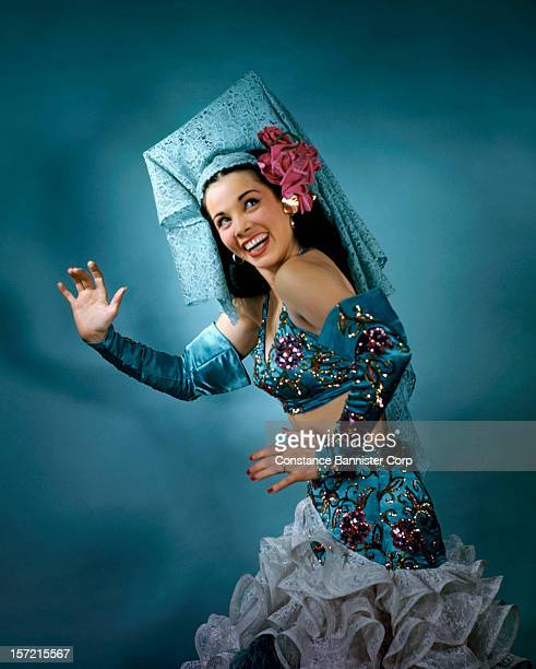 Latin dancer Eva Reyes dressed in a Spanish mantilla and Rumba costume New York City 7th December 1945