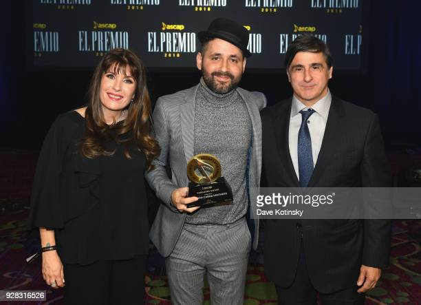 Latin Gabriela Gonzalez Eduardo Cabra and Afo Verde pose onstage at ASCAP 2018 Latin Awards at Marriott Marquis Hotel on March 6 2018 in New York City