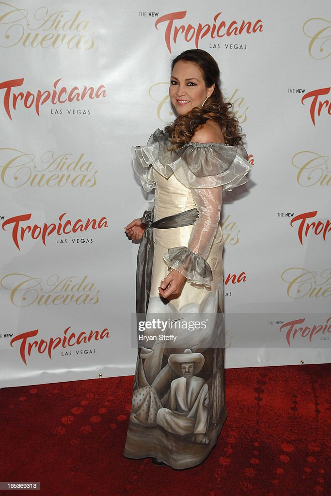 Latin Grammy Award-winning Mexican singer Aida Cuevas attends a press conference announcing her Cinco de Mayo performance at the Tropicana Theater at the New Tropicana Las Vegas on April 3, 2013 in Las Vegas, Nevada.