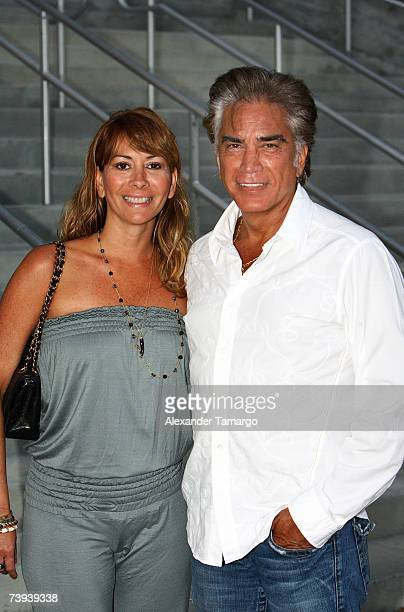 Latin musician Jose Luis El Puma Rodriguez and his wife Carolina Rodriguez pose prior to the Chayanne concert at the American Airlines Arena on April...