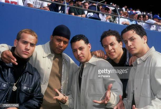 Latin Pop Group The Barrio Boyzz appear on the sideline when they attend the New York Giants vs Dallas Cowboys game at Giants Stadium on October 15,...
