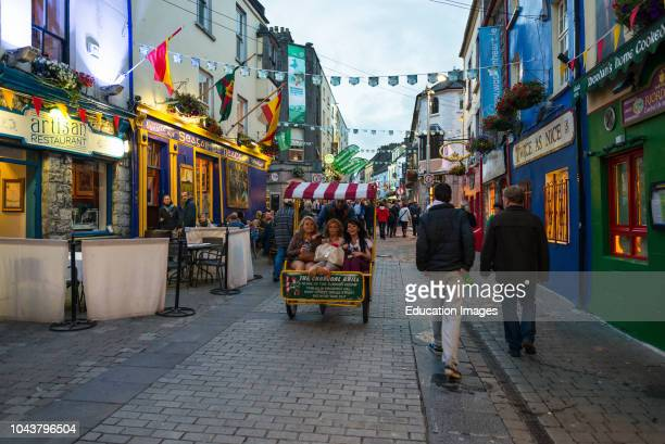 Latin quarter shops at dusk in Galway City center County Galway, Ireland.