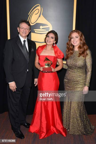 Latin Recording Academy President/CEO Gabriel Abaroa Aline Barros winner of Best Christian Album in the Portuguese Language for 'Acenda A Sua Luz'...