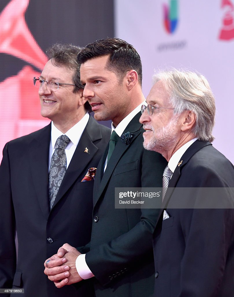 Latin Recording Academy President/CEO Gabriel Abaroa Jr., recording artist Ricky Martin, and President/CEO of The Recording Academy and GRAMMY Foundation President/CEO Neil Portnow attend the 16th Latin GRAMMY Awards at the MGM Grand Garden Arena on November 19, 2015 in Las Vegas, Nevada.