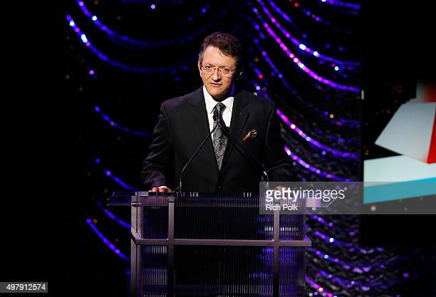 Latin Recording Academy President/CEO Gabriel Abaroa Jr speaks onstage during the 16th Latin GRAMMY Awards premiere ceremony at the MGM Grand Hotel...