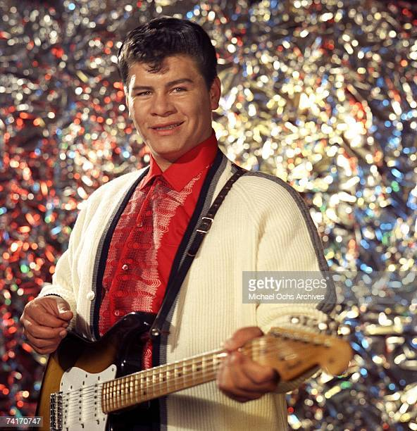 Latin rock and roll singer Ritchie Valens poses for a portrait in Los Angeles, California in 1958.