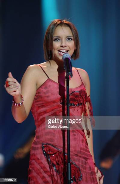 Latin singer Chenoa performs on stage at the UPA Show A3 Television gala December 2 2002 in Madrid Spain