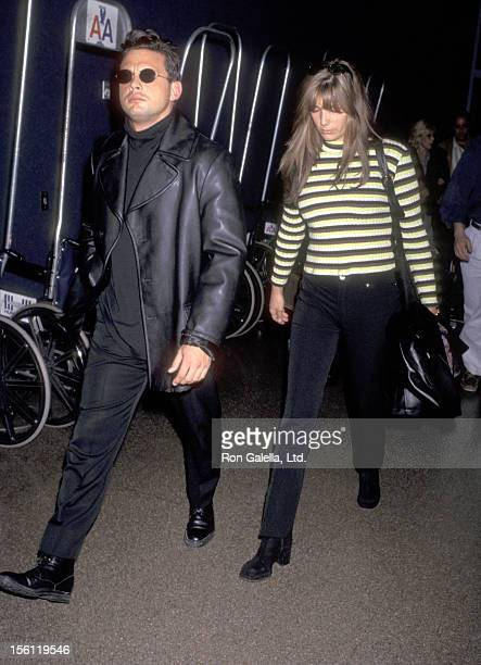 Latin Singer Luis Miguel and Actress Daisy Fuentes on March 23 1997 arriving at the Los Angeles International Airport in Los Angeles California
