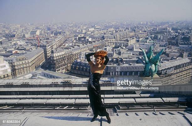 Latin Singer Milva on a Paris Rooftop