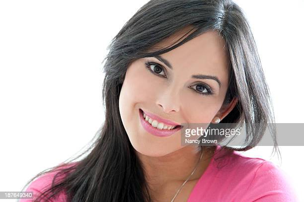 latin woman beauty head shot. - head cocked stock pictures, royalty-free photos & images