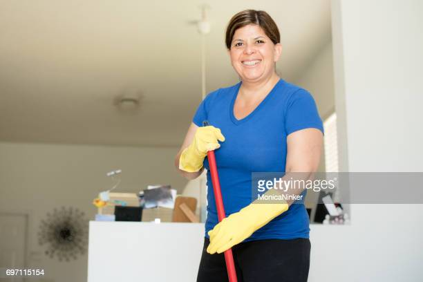 Latin Woman cleaning