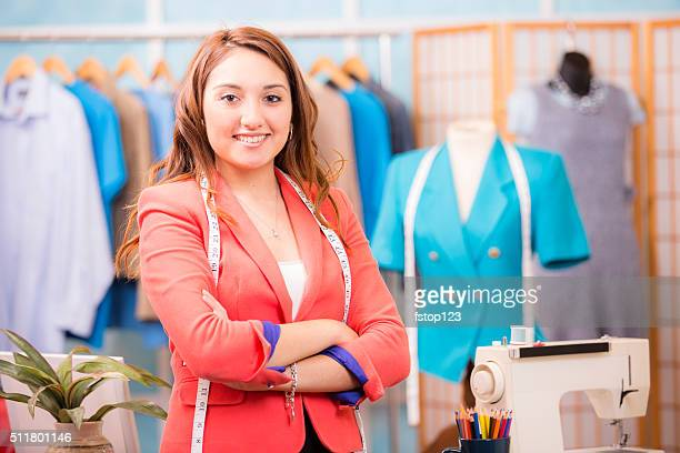 Latin woman, small business owner. Tailor, fashion designer, boutique.