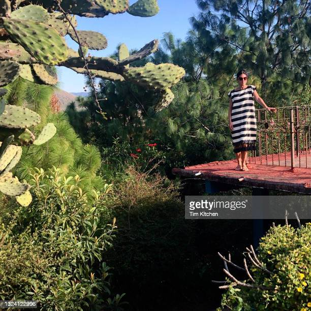 latin woman wearing striped woven dress on ledge overlooking desert vegetation - fringe dress stock pictures, royalty-free photos & images
