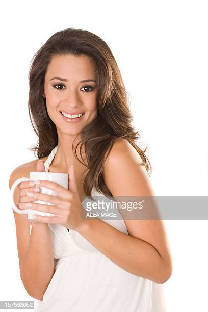 latin woman with coffee mug - dominican ethnicity stock photos and pictures