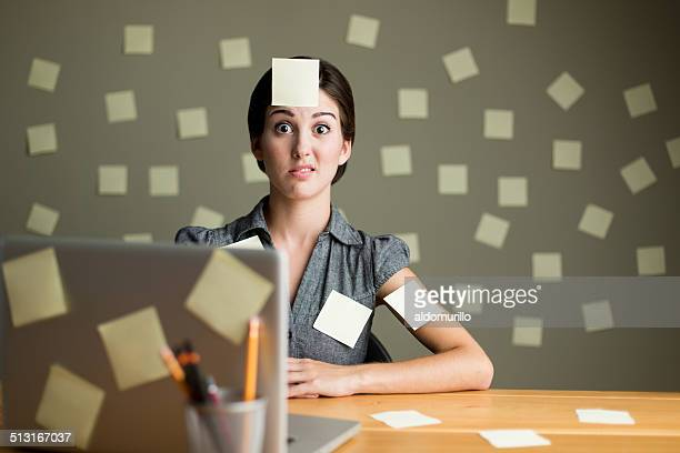 Latin woman with post its
