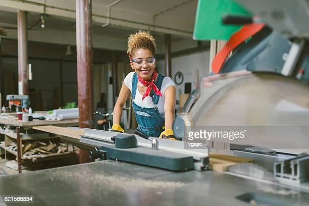 Latina Carpenter In Her Workshop