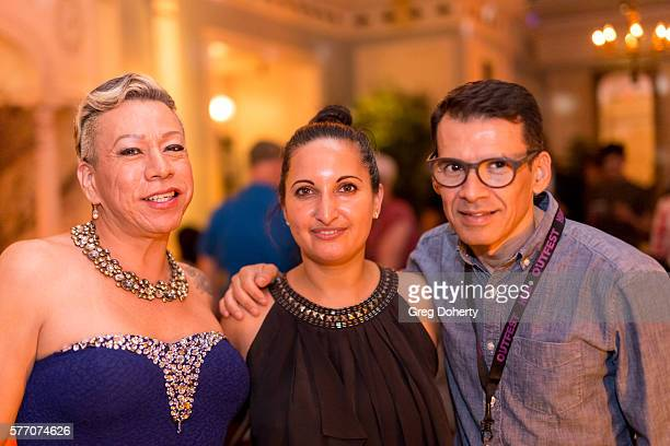 Latina Trans Activist Bamby Salcedo, Outfest Director of Programming Lucy Mukerjee-Brown and El Canto Del Colibri Director, Marco Castro, pose for a...