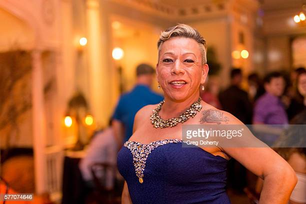 """Latina Trans Activist Bamby Salcedo poses for a picture at the 2016 Outfest Los Angeles Closing Night Gala Of """"Other People"""" After Party at The..."""