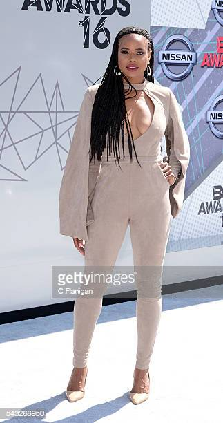 LaTina Webb attends the 2016 BET Awards at Microsoft Theater on June 26 2016 in Los Angeles California
