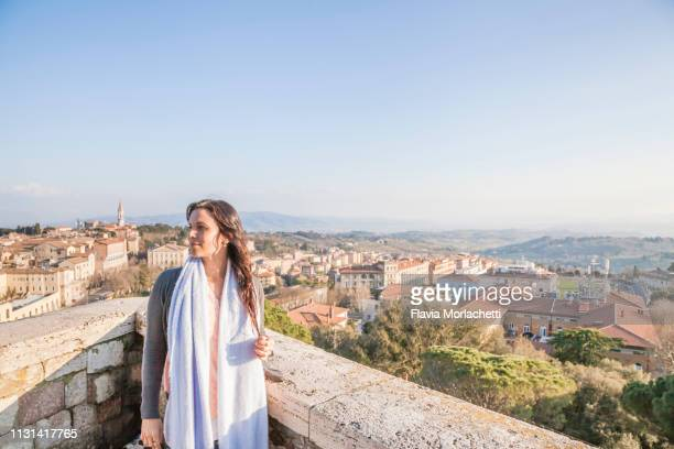 latina woman at perugia city valley viewpoint - perugia stock pictures, royalty-free photos & images