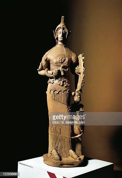 Latins civilization, 5th-4th century b.C. Female statue portraying goddess Minerva. From Lavinio, Lazio Region, Italy.