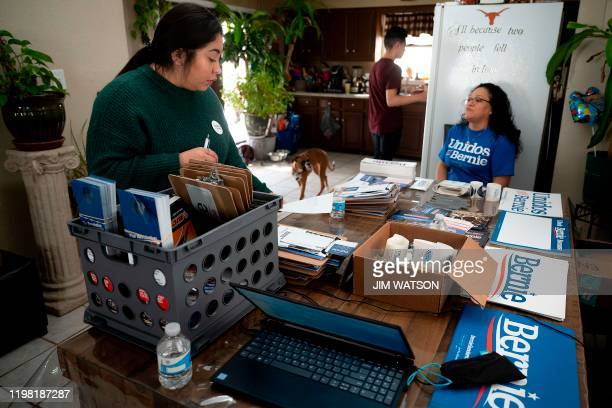 Latinx a Latin American community outreach organization and Democratic Presidential candidate Bernie Sanders organizer Candy Alfaro readies...