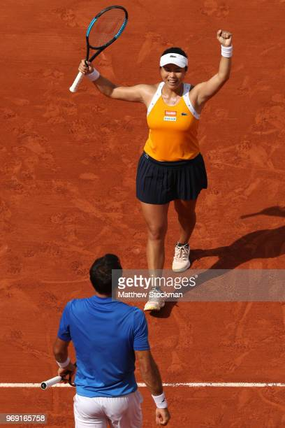 Latisha Chan of Chinese Taipei and partner Ivan Dodig of Croatia celebrates victory during the mixed doubles Final against Gabriela Dabrowski of...